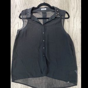 Garage short sleeve sheer blouse with studs
